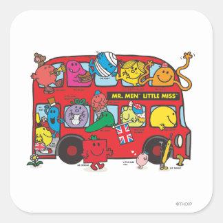 Sr. Men y pequeña Bus de Srta. Crowded Pegatina Cuadrada