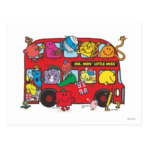 Sr. Men y pequeña Srta. Bus Postales