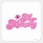 Sr. Messy Logo 6 Calcomanías Cuadradas