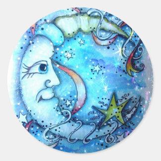 Sr. Moon Sticker de la noche estrellada Pegatina Redonda