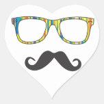 Sr. Moustache Hipster Pegatinas De Corazon Personalizadas