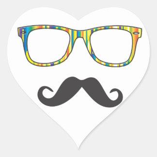 Sr. Moustache Hipster Pegatina En Forma De Corazón
