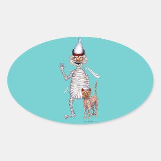 Sr. Mummific y su gato Pegatina Ovalada