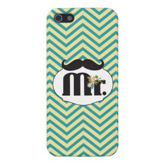 Sr. Mustache Yellow y verde iPhone 5 Carcasas
