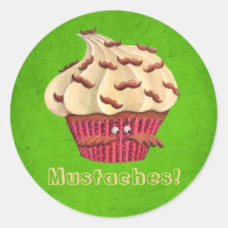 Sr. Mustached Cupcake Etiqueta Redonda