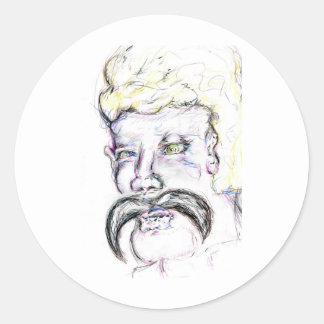 Sr. Mustachio Heraclitus Pegatina Redonda