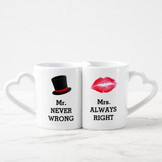 Sr. Never Wrong, señora Always la Right Funny Tazas Para Enamorados