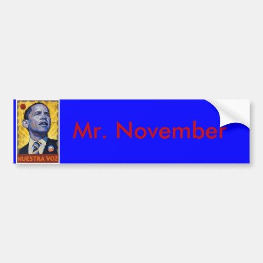 Sr. noviembre de Barack Obama Pegatina De Parachoque