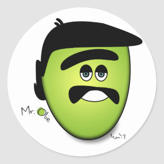 Sr. Olie The Moody Olive - refresqúese Pegatinas Redondas