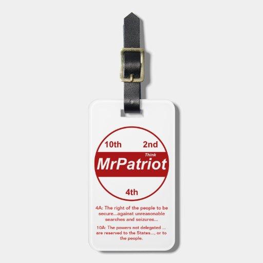 Sr. Patriot, la etiqueta del equipaje Etiquetas De Equipaje