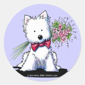 Sr. Pawfect Stickers de KiniArt Westie Pegatinas Redondas