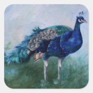 Sr. Peacock Stickers Calcomania Cuadradas Personalizadas
