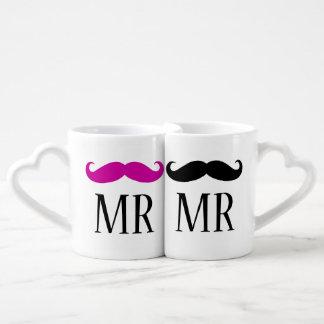 SR. personalizado y SR. bigote Taza Para Parejas
