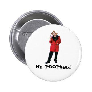 Sr. POOPhead Button Pin Redondo De 2 Pulgadas