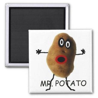 Sr. Potato Cartoon Imán Cuadrado