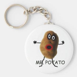 Sr. Potato Cartoon Llavero Redondo Tipo Pin