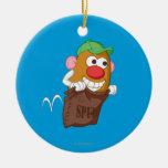 Sr. Potato Head Hopping en saco de la patata Adorno Redondo De Cerámica