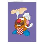 Sr. Potato Head Tossing Pizza Tarjeta De Felicitación