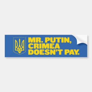 Sr. Putin, Crimea no paga a la pegatina para el pa Etiqueta De Parachoque