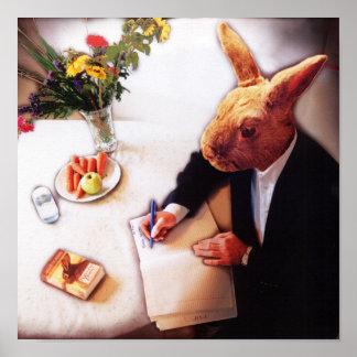 Sr Rabbit Writes un informe del libro Poster