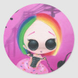 Sr. Rainbow de la paginación Pegatina Redonda
