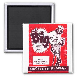 Sr. retro Big de la novedad del helado del kitsch  Imán Cuadrado