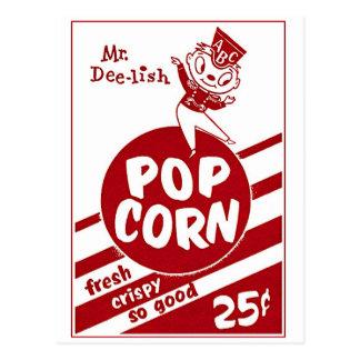 Sr retro Dee-lish de las palomitas del kitsch del Tarjeta Postal