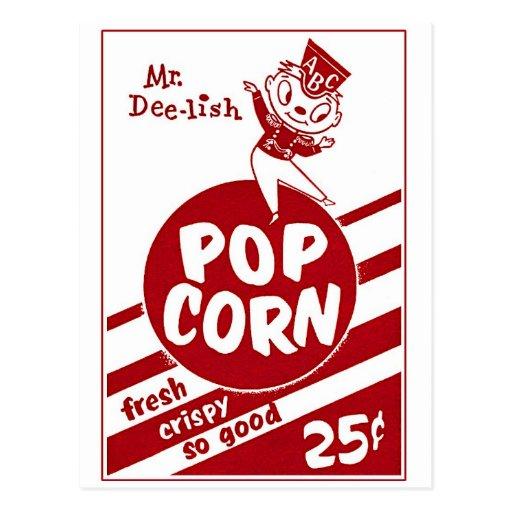 Sr. retro Dee-lish de las palomitas del kitsch del Tarjeta Postal