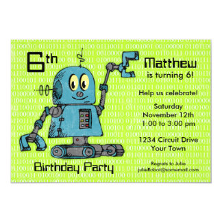 "Sr. Robot Personalized Birthday Invitation Invitación 5"" X 7"""