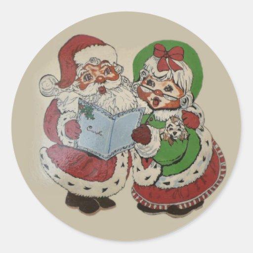 Sr. Santa Couple del vintage Pegatina Redonda