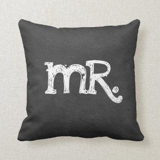 Sr. señor del boda de la pizarra almohada