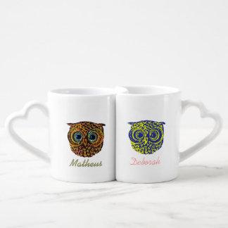 Sr. señora búhos lindos taza para parejas