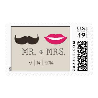 Sr. señora Lips Moustache con la fecha Sellos