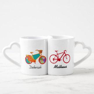 Sr. señora sus sus bicicletas tazas amorosas