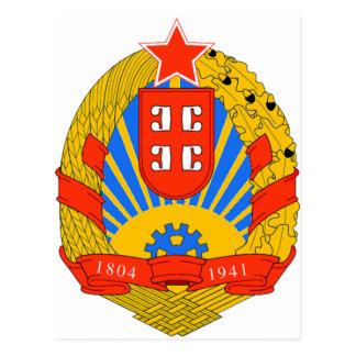 SR Serbia coat of arms Postcard