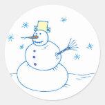 Sr. Snowman Sticker Pegatina Redonda