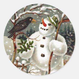 Sr. Snowman y Sr. Crow Stickers Pegatina Redonda