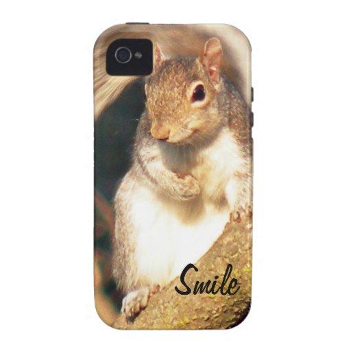 Sr. Squirrel de la sonrisa iPhone 4/4S Carcasas