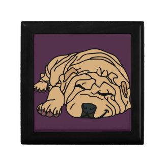 Sr. Squishy el perrito de Shar-pei Joyero Cuadrado Pequeño