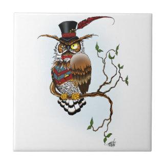 Sr. Steam Owl Azulejo Cuadrado Pequeño