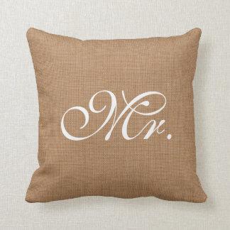 Sr. Throw Cushion de la arpillera Cojin
