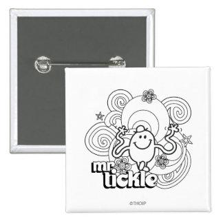 Sr. Tickle el | negro y remolinos y estrellas del Pin Cuadrado