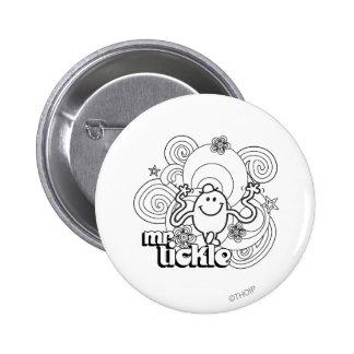 Sr. Tickle el | negro y remolinos y estrellas del Pin Redondo De 2 Pulgadas
