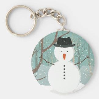 Sr. Winter Snowman Button Keychain Llaveros