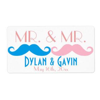 Sr. y botella de agua de Sr. Mustache Gay Wedding Etiqueta De Envío