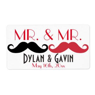 Sr. y botella de agua de Sr. Mustache Gay Wedding Etiquetas De Envío