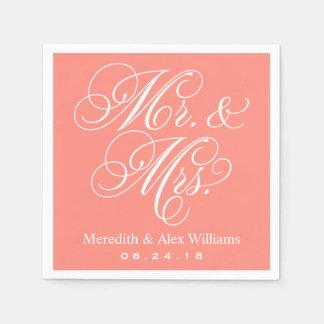 Sr. y coral y blanco de señora Napkins el | Servilletas Desechables