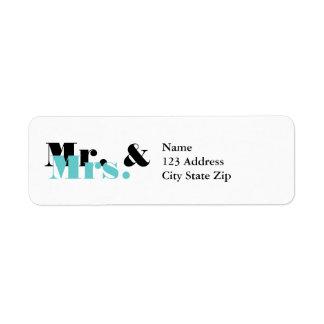 Sr. y la señora elegantes etiquetas de dirección p