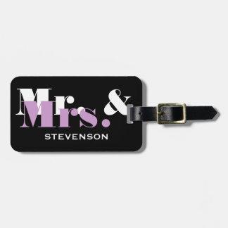 Sr. y la señora etiqueta de la lila del equipaje d etiquetas para equipaje