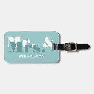 Sr y la señora etiqueta del trullo del equipaje d
